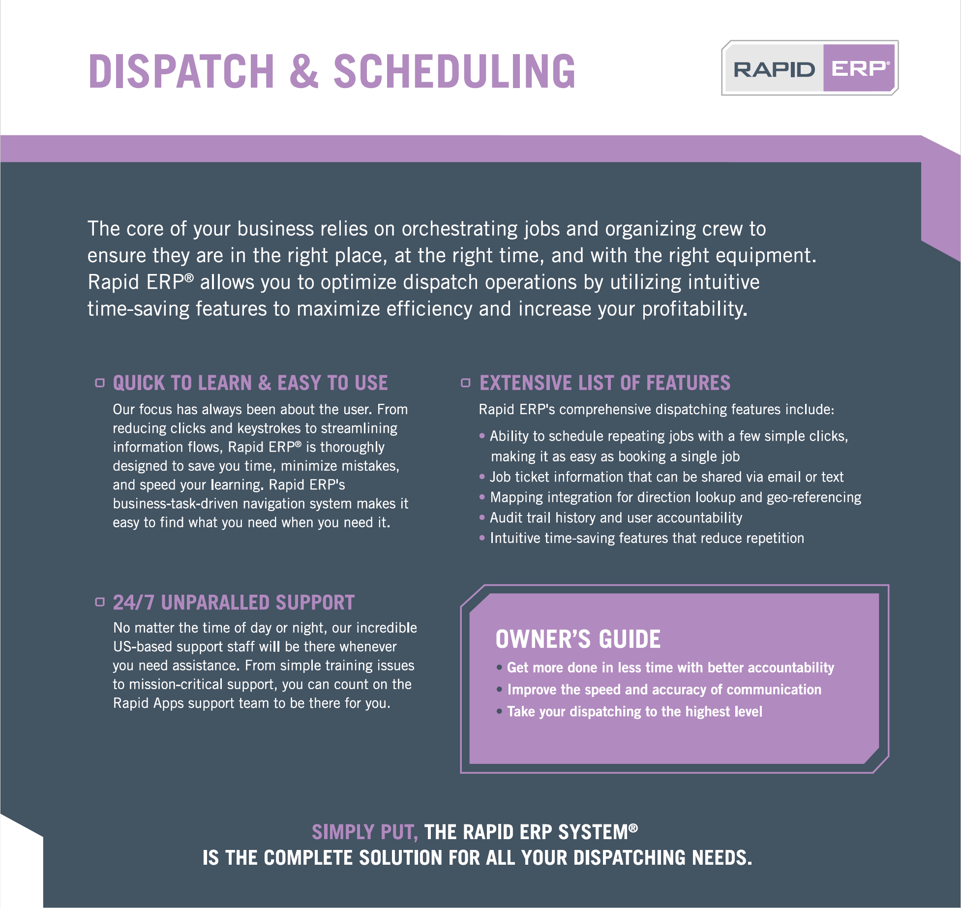 Rapid ERP - Dispatch & Scheduling